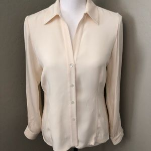 Doncaster 100% Silk Fitted Blouse Button Career